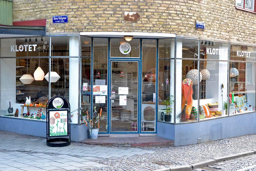 Utsidan av butiken Klotet i Lund, påsk 2021